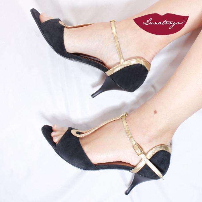 Gota » Gamuza Negra Cuero Metalizado Oro - 5,5cm