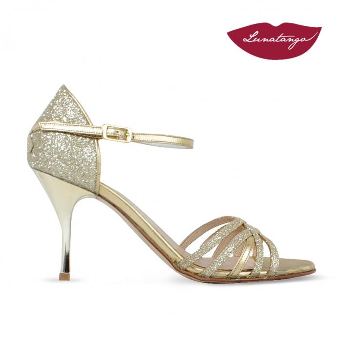 Sirume » Glitter y Raso Oro Cromado – 7,5cm