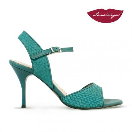 Mona » Gamuza Grabada Verde Cuero Verde - 7,5cm