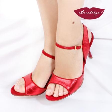 Mona » Cuero Metalizado Rojo Gamuza Roja - 7,5cm