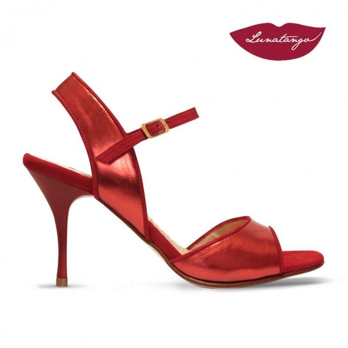 Mona » Cuero Metalizado Rojo Gamuza Roja – 7,5cm