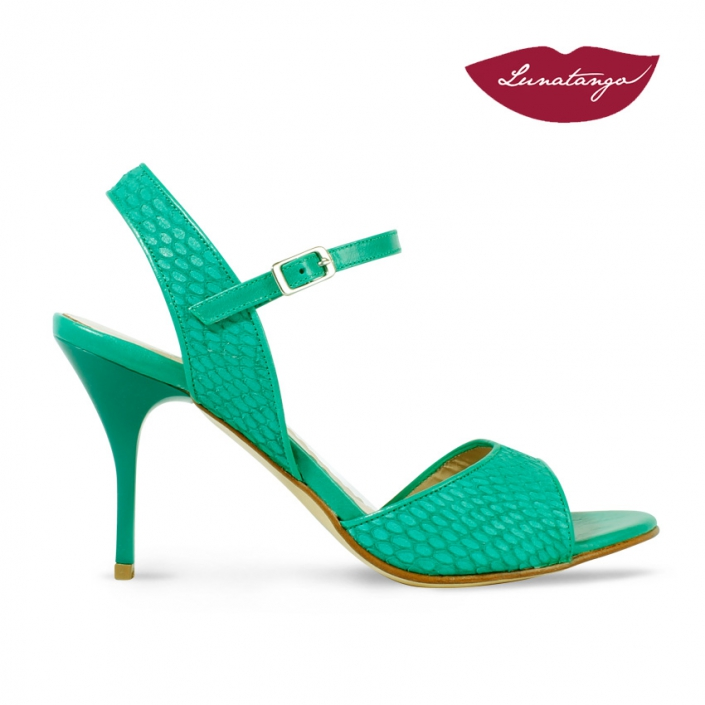 Mona » Gamuza Grabada Verde Charol Verde - 7,5cm