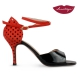 XL » Charol Negro Gamuza Rojo con Lunares – 7,5cm