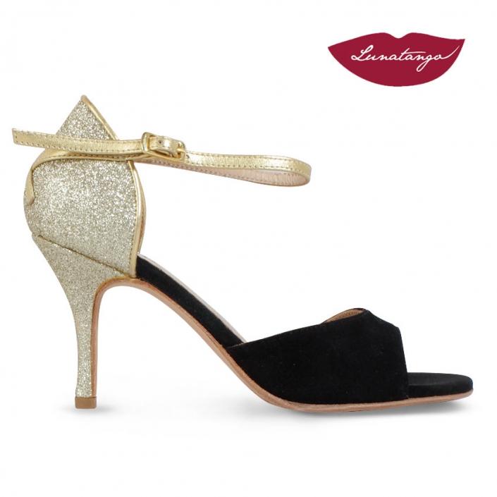 XL » Gamuza Negra Glitter y Cuero Oro – 7,5cm