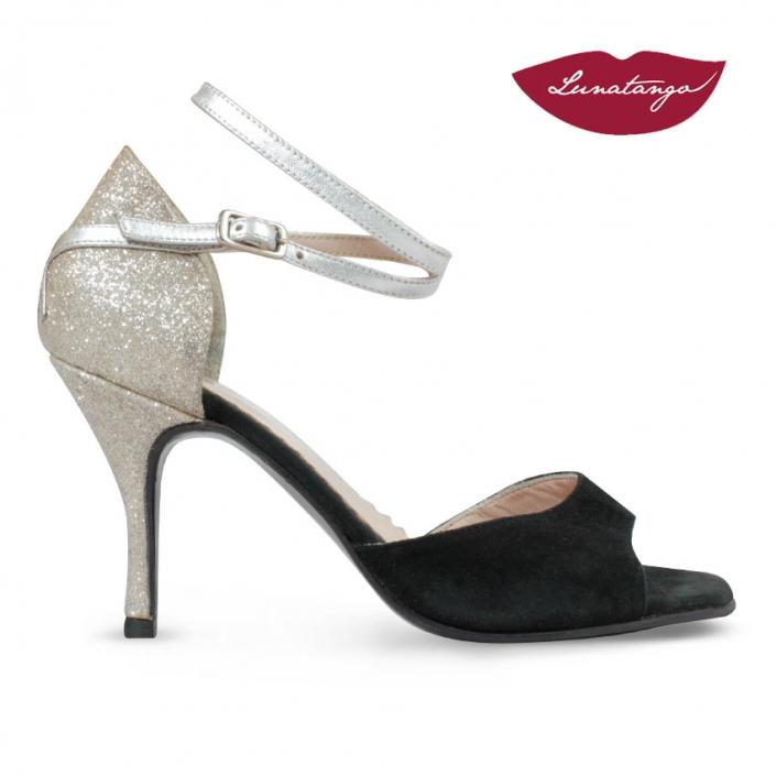 XL » Gamuza Negra Glitter y Cuero Plata – 7,5cm