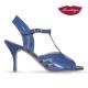 Ondas » Charol y Cuero Azul - 7,5cm