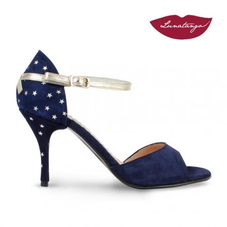 X » Gamuza azul Marino con estrellas y Cuero platino - 7,5cm