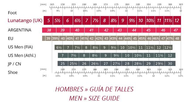 GUIA DE TALLES HOMBRES