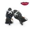 XL » Cuero Plata Gamuza Negro Estrellas Plata – 7,5cm