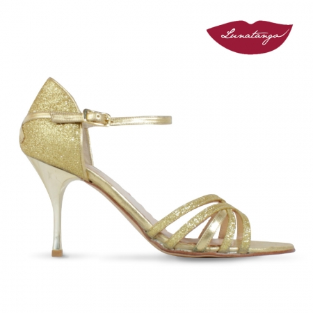 Sirume » Cuero Metalizado y Glitter Amarillo – 7,5cm